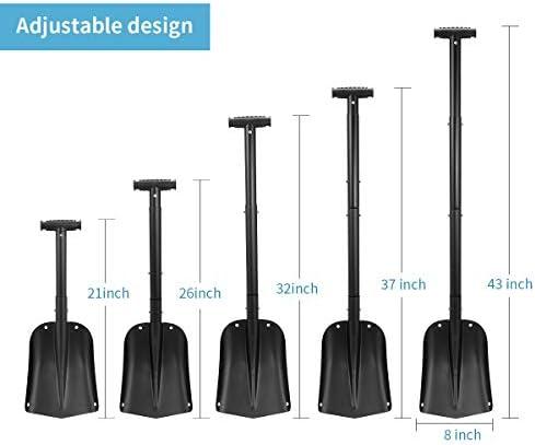 HAUSPROFI Snow Shovel, Tactical Shovel Collapsible Design Aluminium Alloy, Hand Shovel for Car, Snow, Gardenn and Camping, Black, Detachable Five-Piece Construction