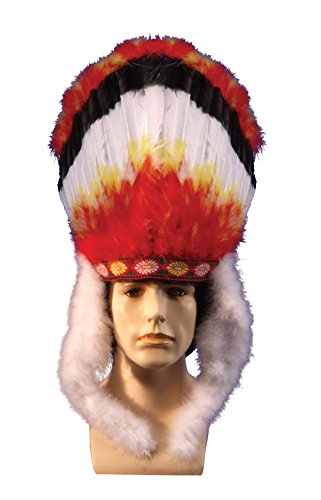 [Star Power Adult Colorful Indian Native American Headdress, One Size] (Halloween Indian Headdress)