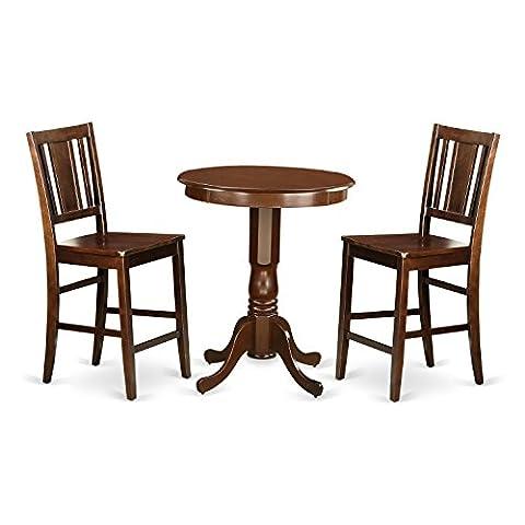 East West Furniture EDBU3-MAH-W 3 Piece Pub Table and 2 Dinette Chairs Set - Pub Table Dinette