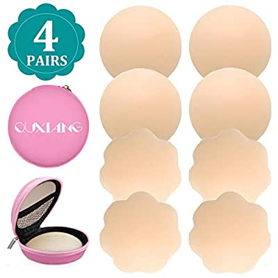 QUXIANG 4 Pairs Pasties Women Nipple Covers Reusable Adhesive Silicone Nippleless Covers
