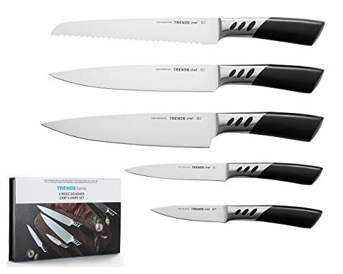 Kitchen Knife Set, 5 Pc, Ultra Sharp, designer kitchen cooking knife set. This set of knives includes chef, carving, utility, bread and paring knives making them the ideal kitchen knives set.