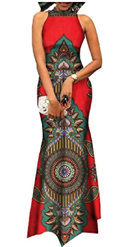 Jaycargogo Longue Sans Manches Dos Nu Féminin Africain Afican Imprimé Dashiki Maxi Robe De Soirée 19 3xl