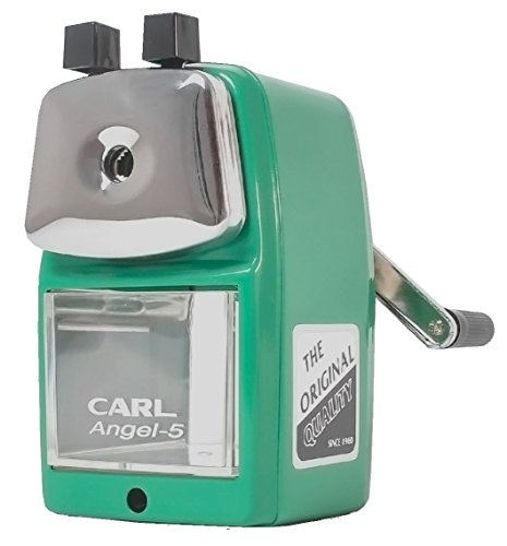 CARL Angel 5 Manual Pencil Sharpener Heavy Duty but Quiet for Office and Home Desks School Classroom,Green Wall Mount Pencil Sharpener