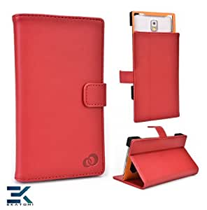 LG Optimus G Pro Case | Universal Book Folio Phone Cover with Stand - RED. Bonus Ekatomi Screen Cleaner*