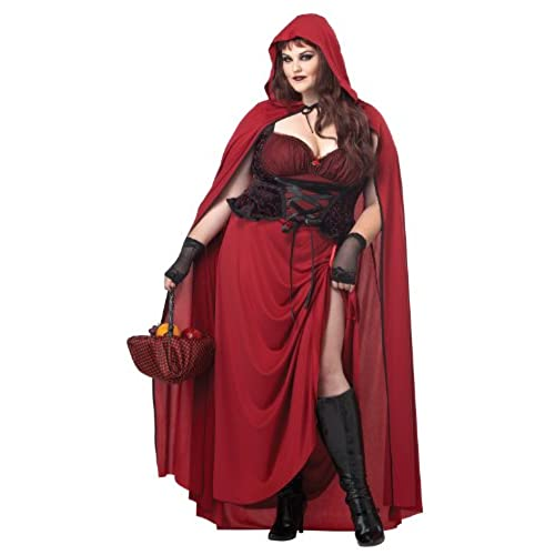 california costumes womens plus size dark red riding hood plus red 3x