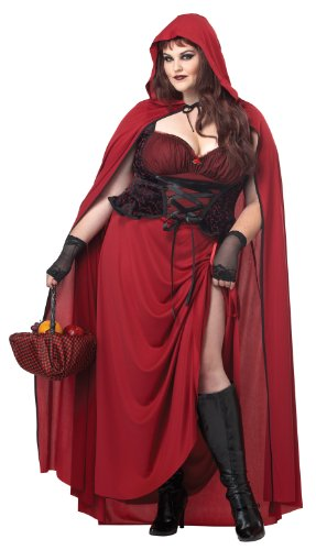 California Costumes Women's Plus-Size Dark Red Riding Hood Plus, Red, 2X (Book Costumes For Adults)