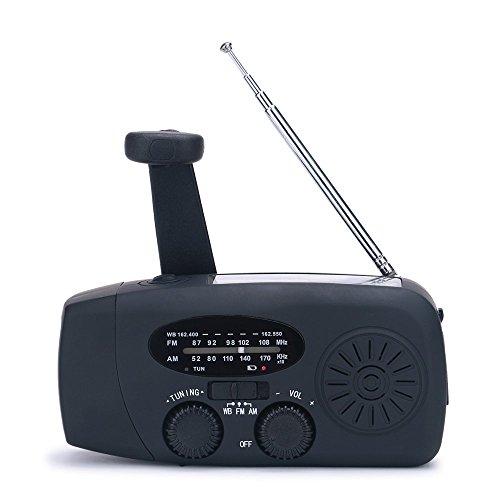 Emergency Solar Hand Crank Weather Alert Radio AM/FM/SW/All Hazard Public Alert Radio with LED Flashlight, Cell Phone Charger and Alarm Clock (Black)