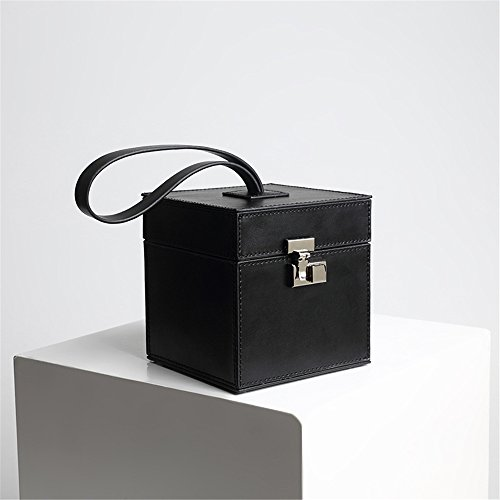 Bolso de Mano Pequeño de la Caja Cuadrada de Señora Retro Pink Wild Handbag Small Leather Bag (Color : Negro) Negro