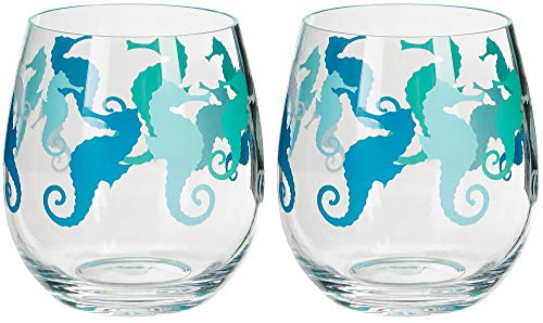 Tropix 2-pc. Seahorse Stemless Wine Goblet Set One Size Aqua blue/green