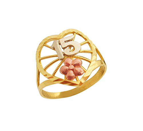 AMZ Jewelry 10K Tri-Color Gold 15 Anos Quinceanera Ring ()