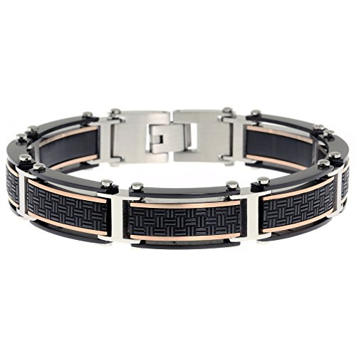 Stainless Steel Rubber Leather Bracelets (Metro Jewelry Stainless Steel Woven Texture Bracelet Black and Rose Ip)