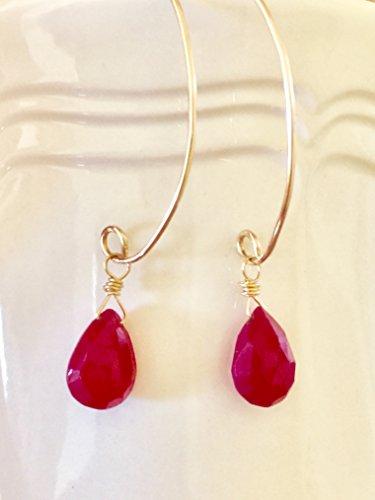 Ruby Earrings, Faceted Ruby Briolette, Genuine Ruby Gemstone, July Birthstone, 14K Gold Fill, Sterling Silver, Gemstone Earrings.