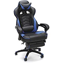 RESPAWN-110 Racing Style Gaming Chair - Reclining Ergonomic Leather Chair with Footrest, Office or Gaming Chair (RSP-110-BLU)