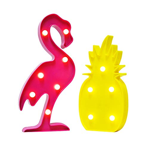 AceList 3D Flamingo Pineapple Signs Lights Kids Baby Child Bedroom Decor Light Wall Table Light for Hawaiian Luau Tropical Birthday Party Decoration Festivals Romantic Night ()