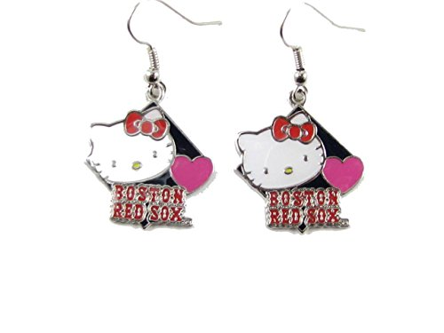 Earrings Dangle Sox (Boston Red Sox Hello Kitty Diamond Dangle Earrings Girls Womens Gift Jewelry)