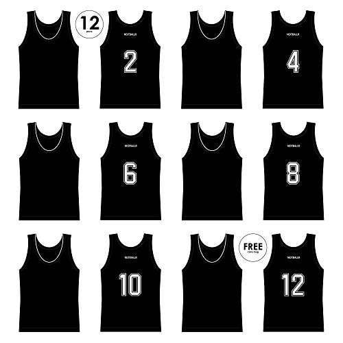 - NEXTBALLR Pinnies Jerseys Vests for Basketball Soccer Sports - Game Practice Scrimmage - Adult Teen Youth with Bold Back Numbers - Lightweight Mesh Bib - Moisture Wicking Shirt - Black Large 12 Pack