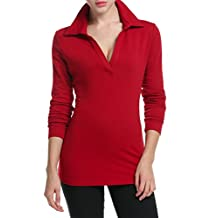 Meaneor Women's Deep V Neck Solid Long Sleeve Casual Jersey Blouse Polos Shirt