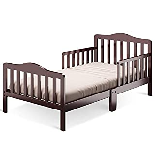 Costzon Toddler Bed, Classic Design Wood Bed Frame w/Two Side Safety Guardrails & Wooden Slat Support for Kids Boys & Girls, Children Sleeping Bedroom Furniture (Cherry)