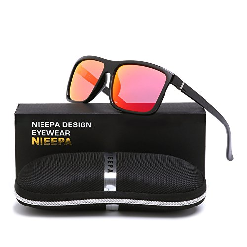NIEEPA Men's Driving Sports Polarized Sunglasses Square Wayfarer Plastic Frame Glasses (Red Silver Lens/Bright Black - Mens Sunglasses Square