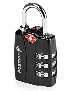 TSA Approved Luggage Locks Fosmon Open Alert Indicator 3 Digit Combination Padlock Codes with Alloy Body for Travel Bag Suit Case Lockers Gym Bike Locks or Other