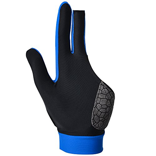MIFULGOO Man Woman Elastic 3 Fingers Show Gloves for Billiard Shooters Carom Pool Snooker Cue Sport - Wear on The Right or Left Hand (Left/Silica-Gel Blue, L) - Mens Show Gloves