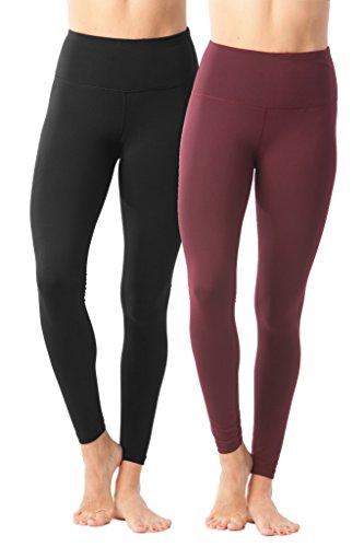 90 Degree By Reflex High Waist Power Flex Legging – Tummy Control - Black and Cherry Jubilee 2 Pack - Large
