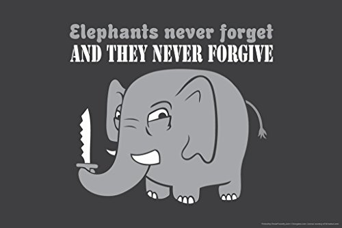 Laminated Elephants Never Forget and They Never Forgive Humor Sign Poster 18x12 inch
