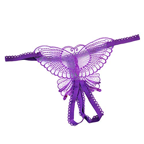 (Women Butterfly Panties Lace Thongs Panties G-String Underwear (Purple) )