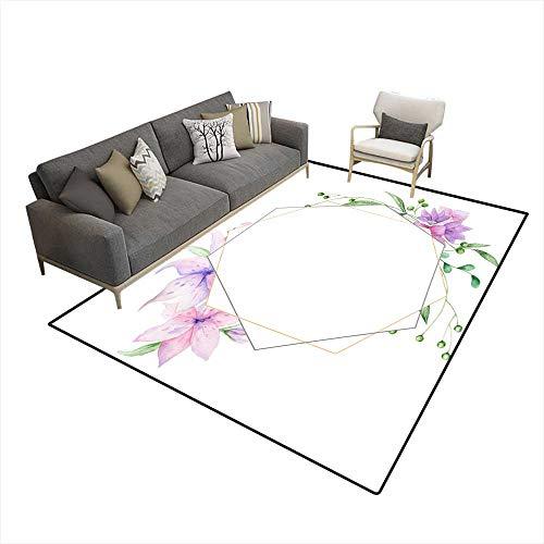 Kids Carpet Playmat Rug Wedding Invitation Floral Invite carolive Floral anmagnolia Geometric Golden Frame Print White Background 6'x7' (W180cm x L210cm