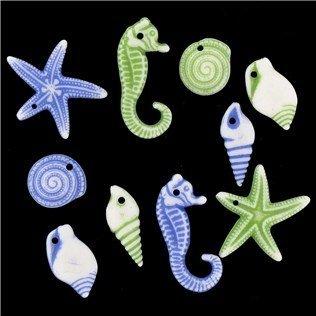 Blue & Green Starfish & Seahorse Bead Mix -