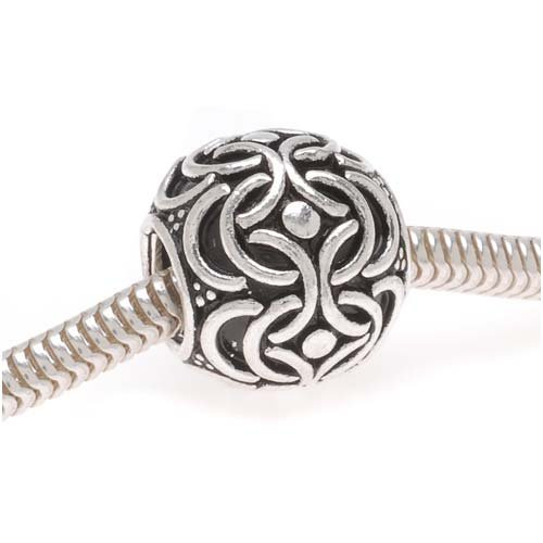 Beadaholique Round Ornate Bali Bead , Fits Pandora, 12mm, Sterling Silver