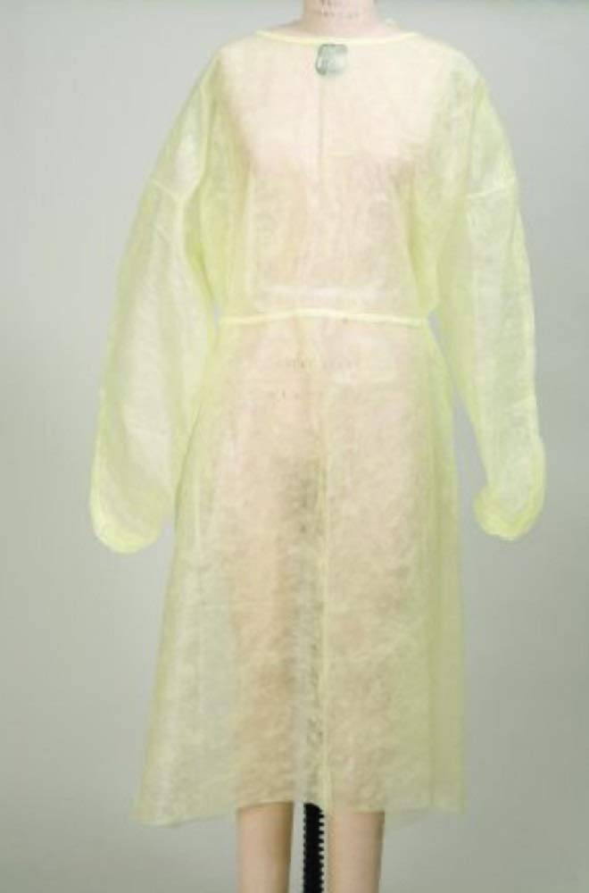AMZ 50 pack Procedure Gowns. Yellow Disposable Exam Gown for clinic, hospital, healthcare needs. Non-sterile Latex Free Gowns with neck, waist ties. Long sleeves, elastic cuffs. One size.
