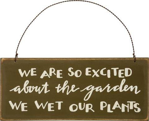 Moose House Plaque (Garden Sign Plaque We are so Excited about the Garden We Wet Our Plants - Funny Clever Comical Olive Green Painted Wooden Sign with Wire Hanger - Home Patio Decor)