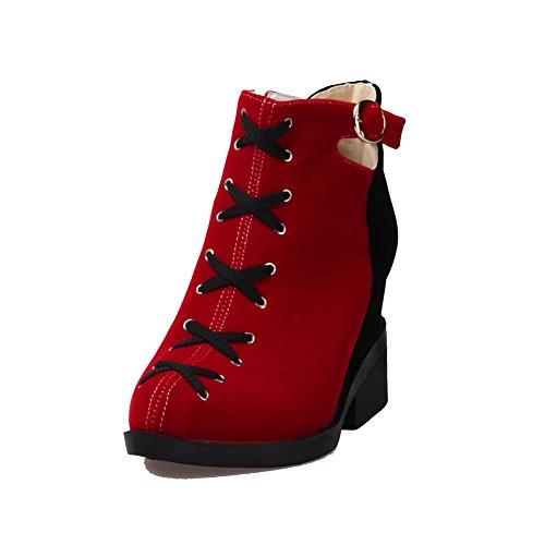 AllhqFashion Mujeres Gamuza(Imitado) Caña Baja Colores Surtidos Cremallera Tacón Alto Botas Rojo