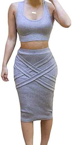 855e3e4e2061 LaSuiveur Womens Crop Top Midi Skirt Outfit Two Piece Bodycon Bandage Dress