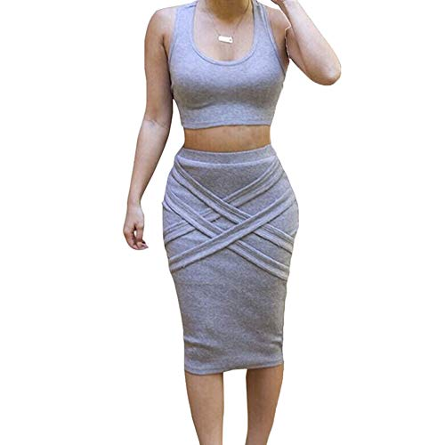 (Womens Crop Top Midi Skirt Outfit Two Piece Bodycon Bandage Dress Small Grey)