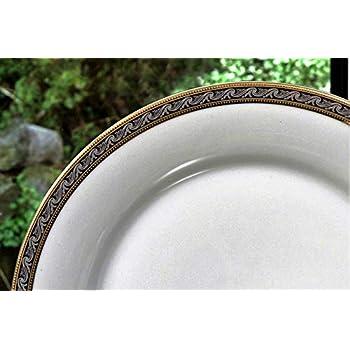 Image of Dinnerware Sets Calvin Klein Eternity Mysolics 28 Piece Dinner Service, Porcelain, White/Platinum, 50 x 40 x 40 cm