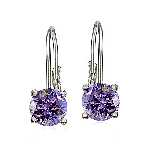 Bria Lou 925 Sterling Silver 6mm Round Birthstone Color Leverback Drop Earrings Made with Swarovski Crystals (All Colors)
