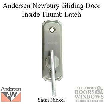 Andersen Frenchwood Gliding Door Hardware, Newbury Thumb Latch/Inside Lock    Brushed/Satin Nickel