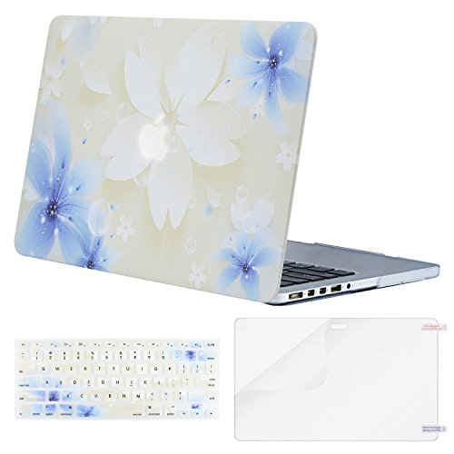 MOSISO Plastic Pattern Hard Case Only Compatible MacBook Pro (W/O USB-C) Retina 13 Inch (A1502/A1425)(W/O CD-ROM) Release 2015/2014/2013/end 2012 & Keyboard Cover & Screen Protector,Lily on White Base