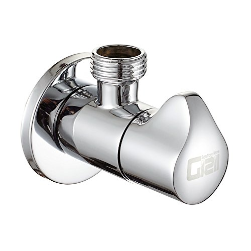 Chrome Outlet (Gizil Turn Angle Valve, Shut Off Water Angle Stop Valve for Faucet and Toilet, Wall Mounted, G1/2 Commercial 1/2¡± IPS Inlet and Outlet,Polished Chrome)
