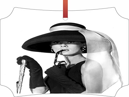Audrey Hepburn with Sunglasses and a Hat - Holiday Ornament - Hanging - Berlin Shaped - Flat - Double Sided - by Lea Elliot Inc. - Sunglasses London Affordable