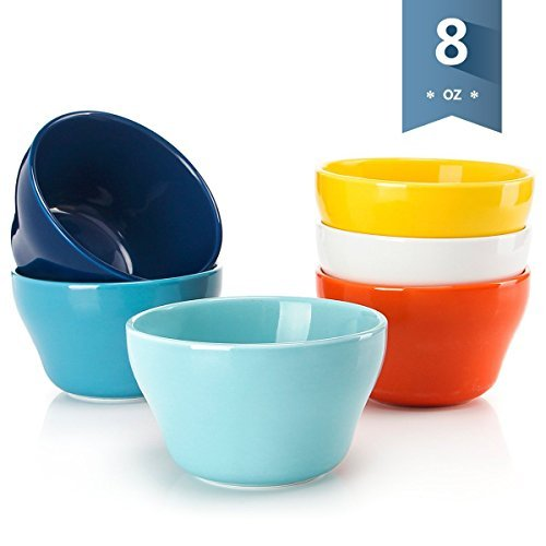 Sweese 1302 Porcelain Bouillon Cups - 8 Ounce Dessert Bowls for Cottage Cheese, Fruit, Crackers, Salsa, Little Size Dishes - Set of 6, Hot Assorted Colors