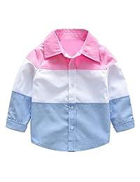 Dinlong Baby Boys Clothes Long Sleeve Stitching Tops Gentlemen T Shirt Blouse