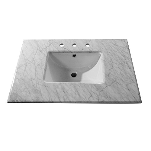 Bellaterra Home Single Sink Vanity in Sable Walnut with White Marble Top, 32