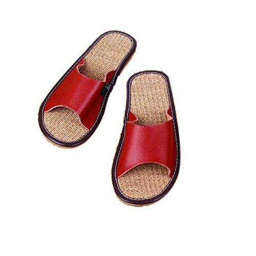 Ciabatte In Pelle Tellw Leather Primavera Estate Tempo Libero Rinforzo Per Tendine In Suola Pantofole Antiscivolo Pantofole Da Casa Per Donna E Uomo Rosso Scuro