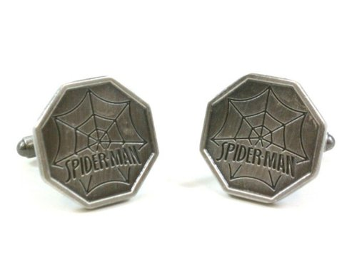The Amazing Spider-Man Silver Tone Web Logo Cufflinks