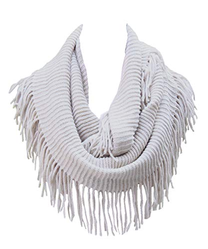 (Lucky Leaf Women Fashion Thick Knitting Woolen Infinity Scarf Circle Loop Scarves with Long Fringe (Beige 1))