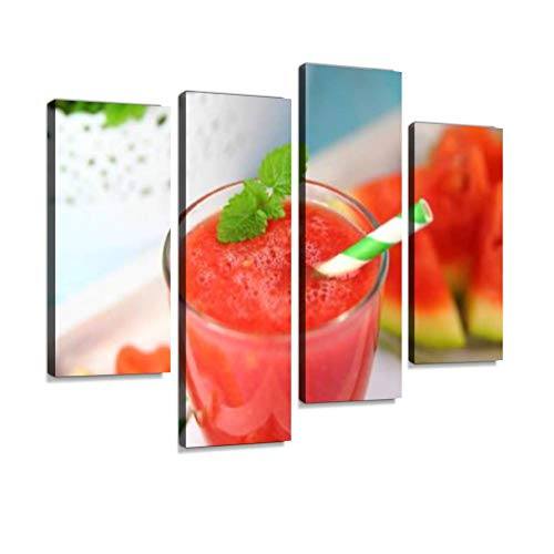 - Strawberry Smoothie Watermelon Carbonated Cocktail Margarita Canvas Wall Art Hanging Paintings Modern Artwork Abstract Picture Prints Home Decoration Gift Unique Designed Framed 4 Panel
