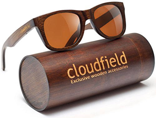 CLOUDFIELD Wood Polarized Sunglasses Wayfarer Style - 100% UV Protection, Bamboo Wooden Frame